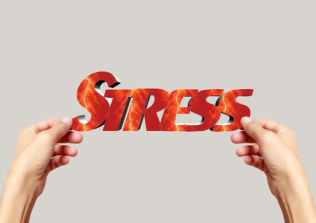 """Two hands holding the word """"stress"""""""