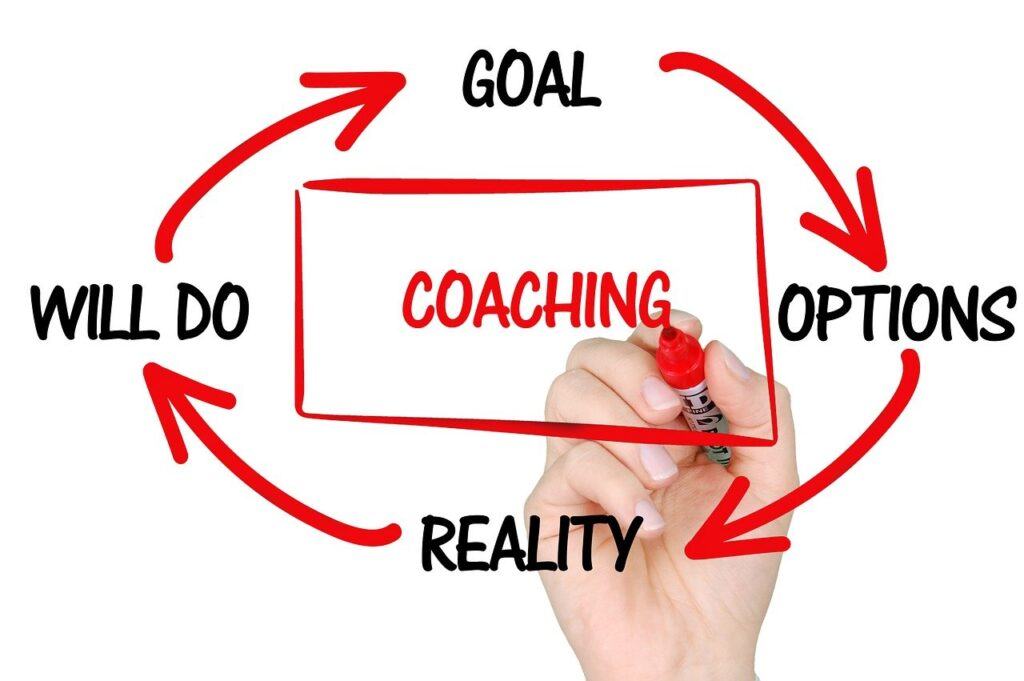 The words Coaching, Goal, Options, Reality and Will Do.
